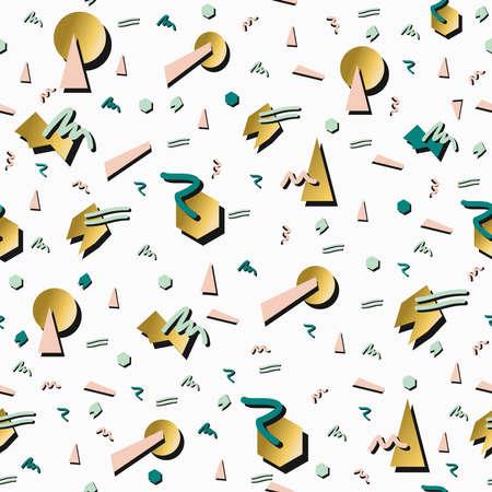 background elegant: Fantas�a de oro de la moda retro de los 80 Modelo incons�til de la ilustraci�n de fondo. Ideal para el dise�o de tarjeta de felicitaci�n, impresi�n o web. Archivo vectorial EPS10.