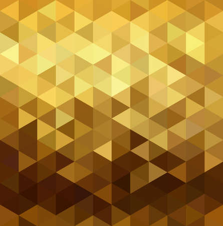 3d triangle: Fancy golden seamless pattern in low polygon mosaic style. Ideal for web background, print, or greeting card. EPS10 vector. Illustration