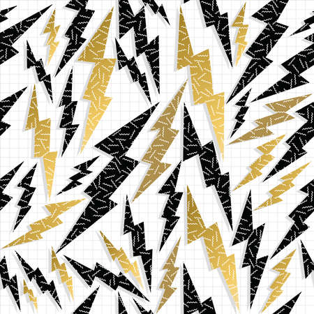 Fancy golden retro 80s fashion seamless pattern thunder bolt ray illustration background. Ideal for greeting card design, print or web. EPS10 vector file.