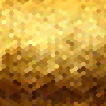 低ポリ スタイルで派手な金色のハニカム グリッド ジオメトリ シームレスなパターン。Web の背景、印刷、またはグリーティング カードに最適です