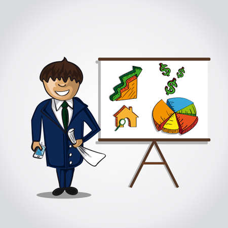business trending: Business man doing a real estate presentation of graph trending upwards. EPS10 vector.