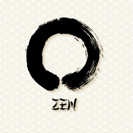 Enso Zen circle illustration in traditional hand drawn brush stroke style. Meditation symbol of Buddhism with calligraphy. EPS10 vector file.