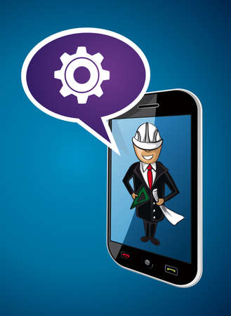 mobile communication: Business man engineer on mobile phone app, communication and networking ideas concept illustration. EPS10 vector file.