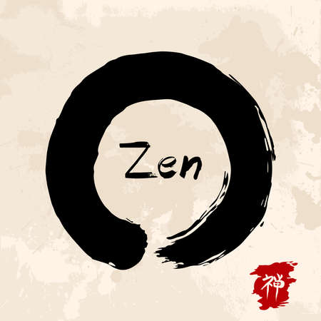 Enso Zen circle illustration in traditional hand drawn brush stroke style. Meditation symbol of Buddhism with calligraphy. EPS10 vector file. Vectores
