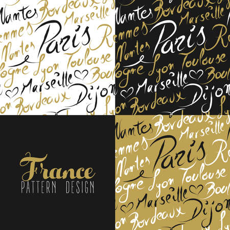 toulouse: Travel France Europe famous cities with handmade calligraphy. Paris city, Lyon, Toulouse, Marseille, Bordeaux. Seamless pattern ideal for own design, wrapping paper or web.