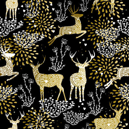 Christmas fancy gold seamless pattern with deer and nature elements on black background. Ideal for xmas card design, holiday wrapping paper or print.