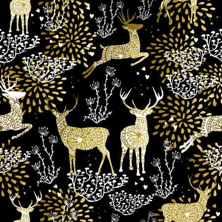 renna: Natale fantasia oro seamless con elementi di cervi e la natura su sfondo nero. Ideale per la progettazione carta natale, carta da imballaggio vacanza o di stampa.