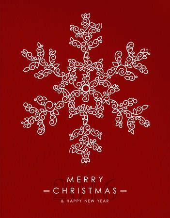 schneeflocke: Frohe Weihnachten glückliches neues Jahr 2016 Grußkarte Hintergrund. Linear Winter Schneeflocke mit Monogramm Dekoration, Schmuck und Blätter.