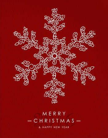 the snowflake: Merry Christmas Happy New Year 2016 greeting card background. Linear winter snowflake with monogram decoration, ornaments and leaves.
