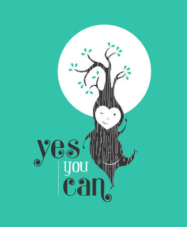 motivation icon: Yes you can motivation quote greeting card background with happy tree elf dancing. Ideal for friend or poster.   Illustration