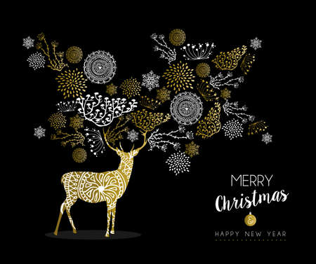 winter holiday: Merry christmas happy new year luxury golden deer design on black background with nature elements and label. Ideal for elegant holiday greeting card.
