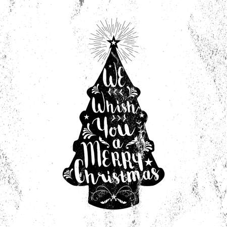albero pino: Merry christmas black and white hipster pine tree shape on paper texture background with vintage elements. Ideal for xmas greeting card or elegant holiday party invitation.