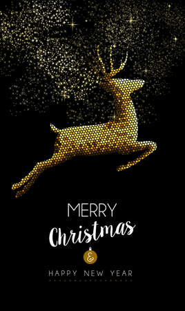 Merry Christmas Happy new year luxurious gold reindeer jumping in mosaic style. Ideal for holiday card or elegant party invitation.