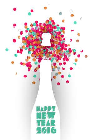 botella champa�a: Feliz a�o nuevo botella v�spera 2016 colorida celebraci�n champ�n y confeti de fondo. Ideal para la tarjeta de felicitaci�n de vacaciones o invitaci�n del partido.