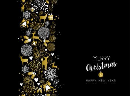 muerdago: feliz patrón Feliz Navidad año nuevo lujo de oro transparente sobre fondo negro con elementos de ciervo y de vacaciones. Ideal para elegante de la tarjeta de felicitación de Navidad. Vectores