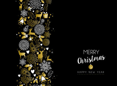 retro christmas: Merry christmas happy new year luxury golden seamless pattern on black background with deer and holiday elements. Ideal for elegant xmas greeting card.