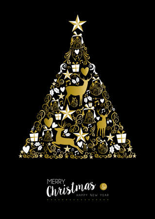 Merry christmas happy new year luxury golden pine tree shape on black background with deer and vintage elements. Ideal for xmas greeting card or elegant holiday party invitation.