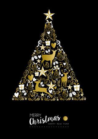 Pin doré forme Merry christmas happy new year de luxe d'arbre sur fond noir avec des cerfs et des éléments vintage. Idéal pour la carte de Noël de voeux ou d'invitation de fête de Noël élégant.