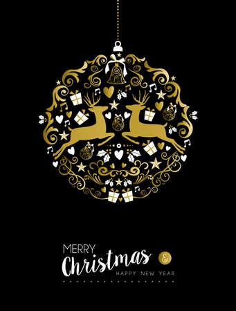 Nouvelle année luxueuse forme Merry christmas heureux or de balle ornement sur fond noir avec des cerfs et des éléments vintage. Idéal pour la carte de Noël de voeux ou d'invitation de fête de Noël élégant.