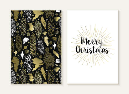 indian summer: Merry Christmas card template set with retro tribal style seamless pattern and trendy Xmas text in gold metallic color. Ideal for holiday greetings.