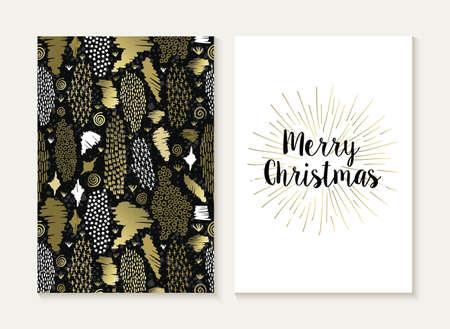 feriado: Plantilla de la tarjeta de la Feliz Navidad de conjunto con el estilo tribal retro patrón sin fisuras y de moda de texto de Navidad de color oro metálico. Ideal para felicitaciones. Vectores