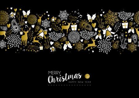 reno: Feliz feliz nuevo a�o de oro de lujo modelo incons�til de Navidad en fondo negro con los ciervos, naturaleza y elementos de vacaciones. Ideal para el dise�o de la tarjeta de felicitaci�n elegante de Navidad. Vectores