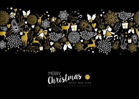 xmas: Merry christmas happy new year luxury gold seamless pattern on black background with deer, nature, and holiday elements. Ideal for fancy xmas greeting card design.   Illustration