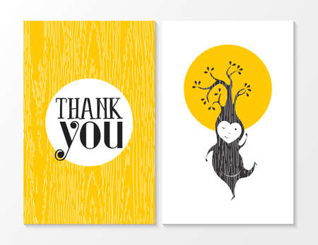 Thank you greeting card set with yellow wood texture background and happy tree elf dancing. Ideal for thanksgiving day or friend. EPS10 vector.