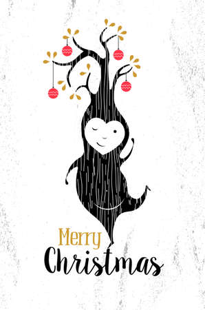 tree texture: Merry christmas black and white elf tree shape on paper texture background with hipster retro elements. Ideal for xmas greeting card or elegant holiday party invitation.  Illustration