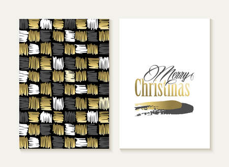 retro pattern: Merry Christmas card template set: retro tribal indian geometry elements seamless pattern and trendy Xmas text in gold metallic color. Ideal for holiday greetings. Illustration