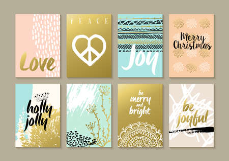 boho: Merry Christmas retro hipster boho card template set with vintage hippie style elements and trendy holiday text quotes in gold metallic color. Ideal for xmas greetings.