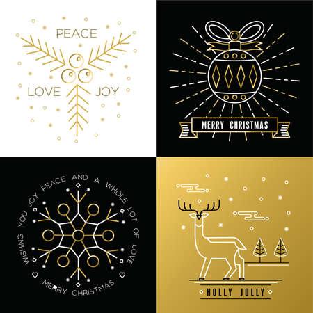 메리 크리스마스 황금 개요 레이블 크리스마스 장식 공, 눈송이, 사슴, 홀리 요소를 설정합니다. 우아한 휴가 초대 또는 인사말 카드에 적합합니다. 일러스트