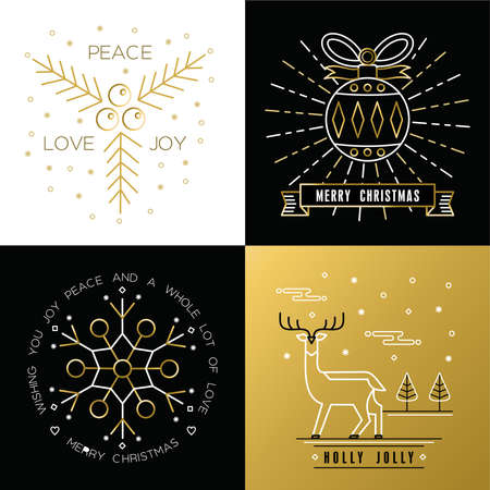 Merry Christmas golden outline label set with xmas ornament ball, snowflake, deer, and holly elements. Ideal for elegant holiday invitation or greeting card.