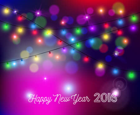 color of year: Happy new year 2016 bokeh style greeting card design. Colorful festive holiday lights with sparkles, stars and color blurs.