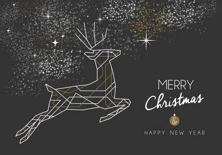 Merry christmas happy new year jumping deer design in art deco outline style. Ideal for xmas greeting card or holiday poster.   イラスト・ベクター素材