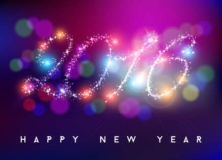 graphics design: Happy new year bokeh style background greeting card design. 2016 shape made with sparkle stars and colorful blurs. EPS10 vector. Illustration