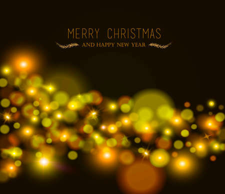 new years background: Merry christmas happy new year blur bokeh lights, star and sparkle background with text. Ideal for xmas greeting card or holiday party invitation.