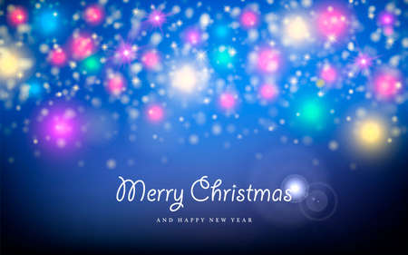 greeting card backgrounds: Merry christmas happy new year blur bokeh lights, star and sparkle background. Ideal for xmas greeting card or holiday party invitation.  Illustration