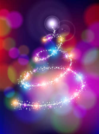 albero pino: Merry christmas holiday greeting card design with colorful bokeh lights background blur and sparkle stars making xmas pine tree shape.  Vettoriali