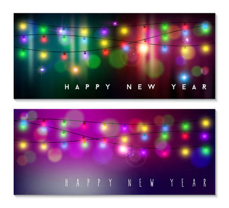 happy new year banner: Happy new year banner set designs with festive holiday lights decoration and colorful bokeh blur elements in the background. Ideal for web or season greeting cards.   Illustration