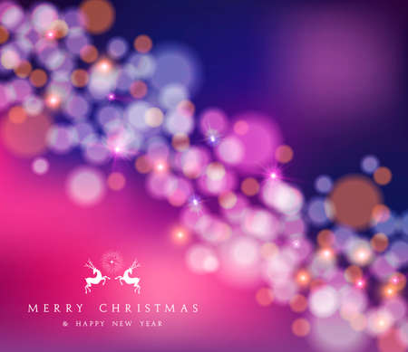 Merry christmas happy new year blur bokeh lights and star background with deer label. Ideal for xmas greeting card or holiday party invitation. EPS10 vector.