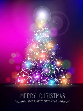 albero pino: Buon Natale felice nuovo design di stile bokeh anno biglietto di auguri. Xmas forma di albero di pino fatta con le stelle brillano e sfocature colorati. EPS10 vettore. Vettoriali