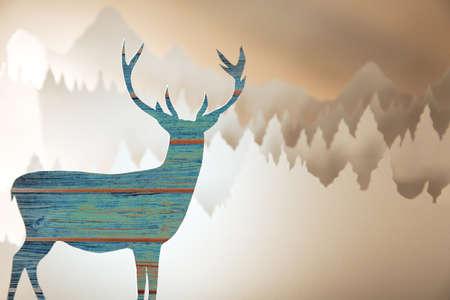 Merry christmas nieuwe jaar handgeschept papier gesneden wenskaart met houtmotief hertensilhouet en winter boslandschap achtergrond.