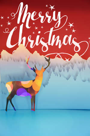 paper cut art: Merry christmas handmade paper cut art winter scene: deer with bokeh lights, forest landscape and script style text on red background. Ideal for holiday greeting card, xmas poster or campaign.