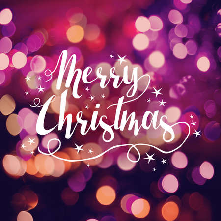 retro background: Merry christmas card, text label with cute hand drawn star elements on bokeh light background. Ideal for holiday season greetings, xmas poster or web.
