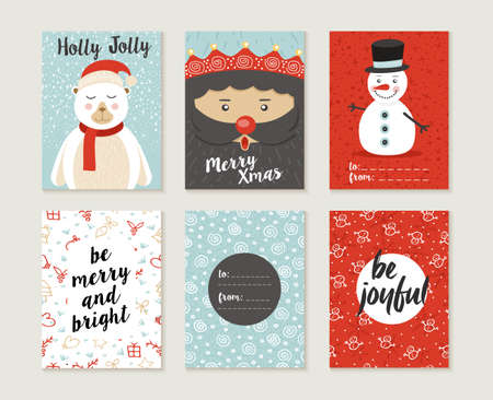 greeting card backgrounds: Merry Christmas greeting card set with cute polar bear, santa elf and snowman retro designs. Includes holiday themed seamless patterns. EPS10 vector.