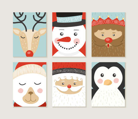 duendes de navidad: Conjunto Feliz Navidad de diseño. Lindos diseños retro de personajes de invierno navidad santa, oso, pingüino, ciervos, oso polar y duende. Ideal para el cartel de fiesta, días de fiesta tarjeta de felicitación o web. Vector EPS10. Vectores