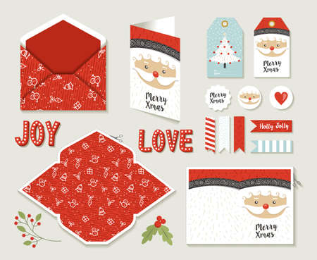 Merry christmas set of printable DIY envelope, tags and holiday greeting card for xmas season in cute retro style. EPS10 vector.