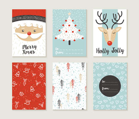 hand with card: Merry Christmas greeting card set with cute xmas tree, santa and deer retro designs. Includes holiday themed seamless patterns. EPS10 vector. Illustration