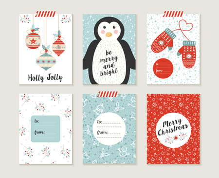 decoration: Merry Christmas greeting card set with cute penguin, xmas bauble decoration and winter mittons retro designs.